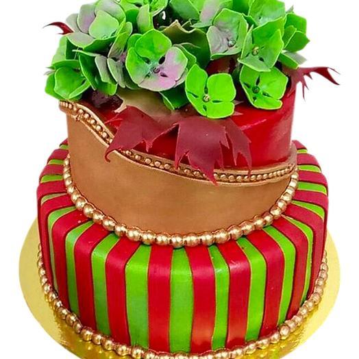 "Торт ""в мастике с цветами"""