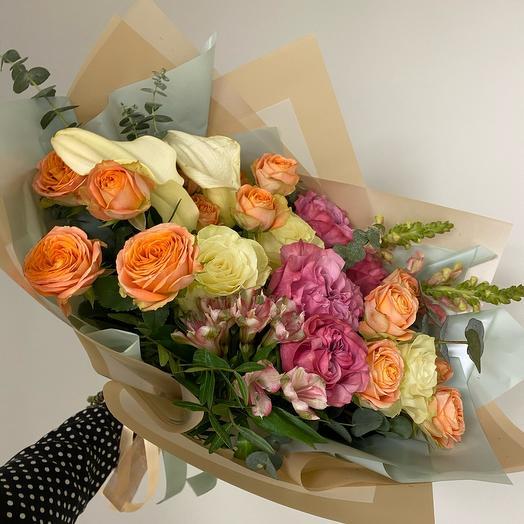 Букет с розами и Каллами М