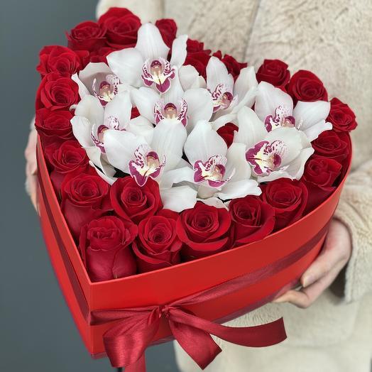 Сердце из красных роз Влюбленное сердце