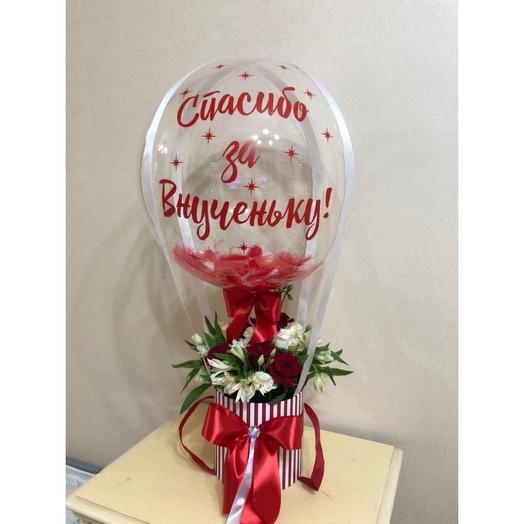 Розы и Альстрамерия с шаром баблс