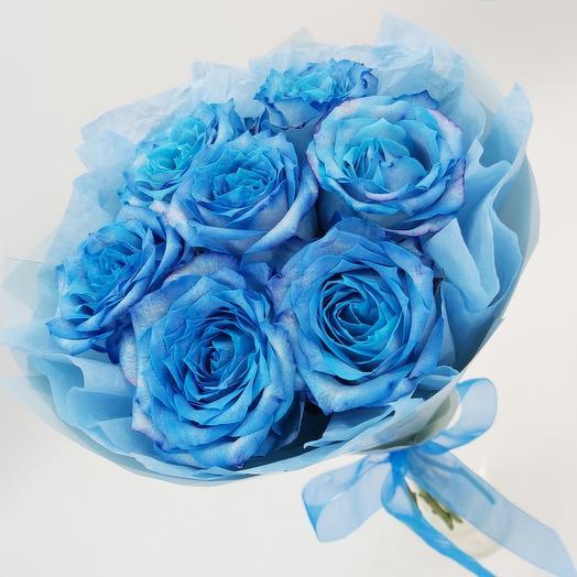 Голубое облачко: 7 роз