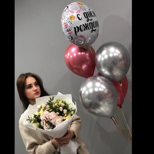 Букет с гортензией и шары с днём рождения