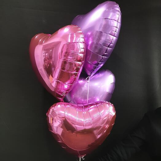 4 фольгировнных сердца