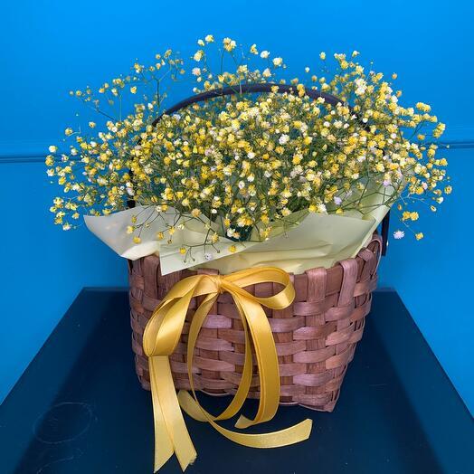 Wicker basket with gypsophila