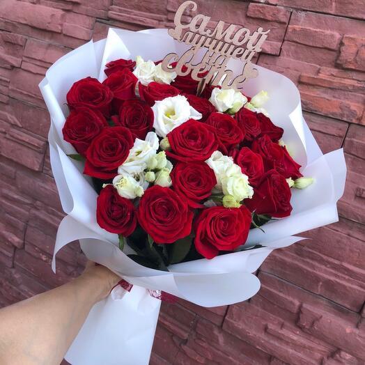 25 роз ( топпер в подарок) с эустомой в оформлении