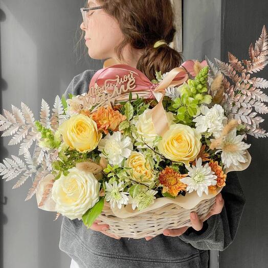 Корзина с цветами «Осенняя»