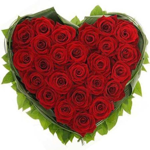 Композиция из роз Страстное сердце: букеты цветов на заказ Flowwow