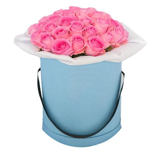 Розы в шляпной коробке  Лазурное небо: букеты цветов на заказ Flowwow