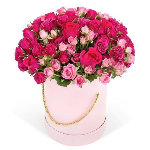 Шляпная коробка с цветами «Розовый сад»