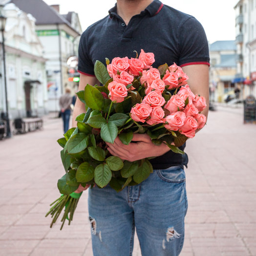 Букет из 27 розовых роз 50 см: букеты цветов на заказ Flowwow