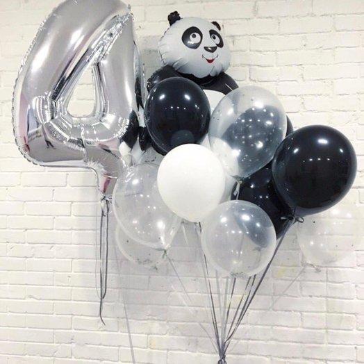 """Воздушная композиция """"День рождение в стиле панды"""": букеты цветов на заказ Flowwow"""