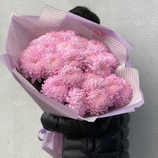 21 розовый шарик хризантемки: букеты цветов на заказ Flowwow