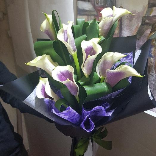 9 калл с аспидистрой: букеты цветов на заказ Flowwow