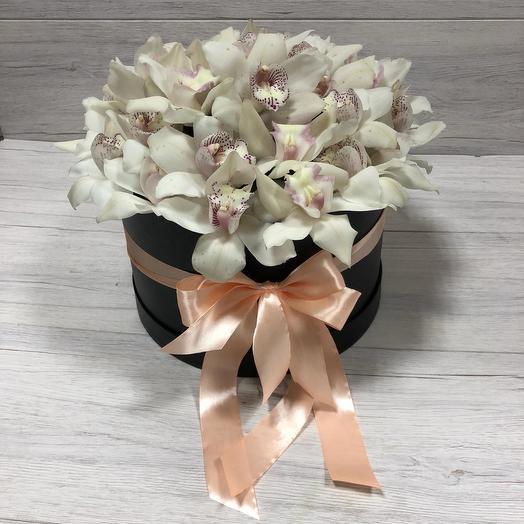 """Букет белых орхидей в коробке """"Любимой"""": букеты цветов на заказ Flowwow"""