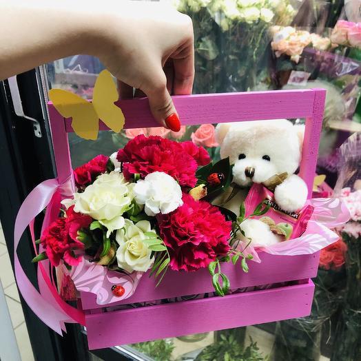 «Мишка с конфеткой»: букеты цветов на заказ Flowwow