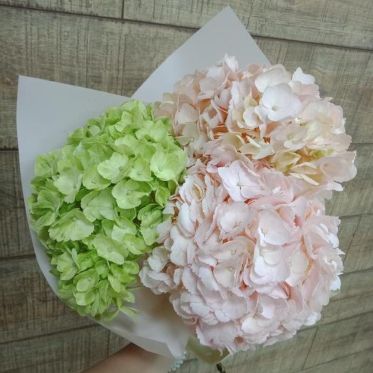 Нежная гортензия в стильной упаковке: букеты цветов на заказ Flowwow