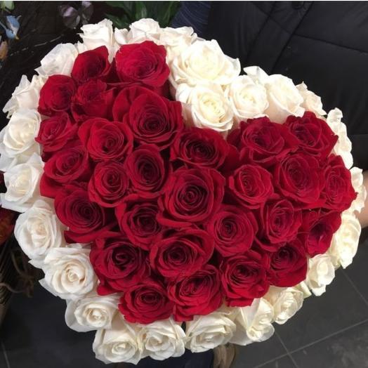 Букет 51 роза сердце ️: букеты цветов на заказ Flowwow