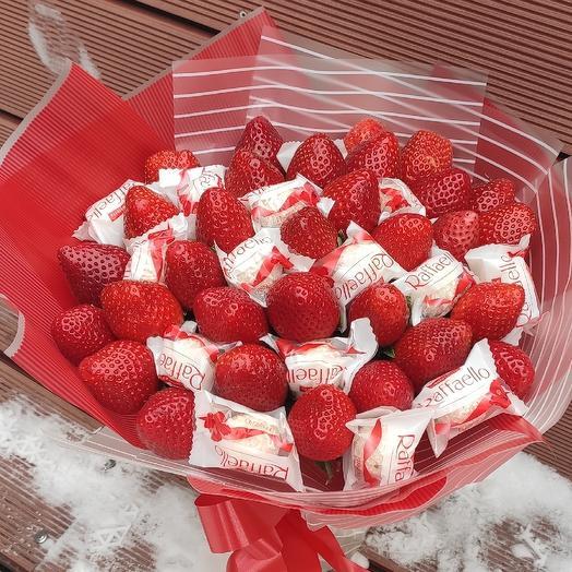 Клубничная сладость: букеты цветов на заказ Flowwow