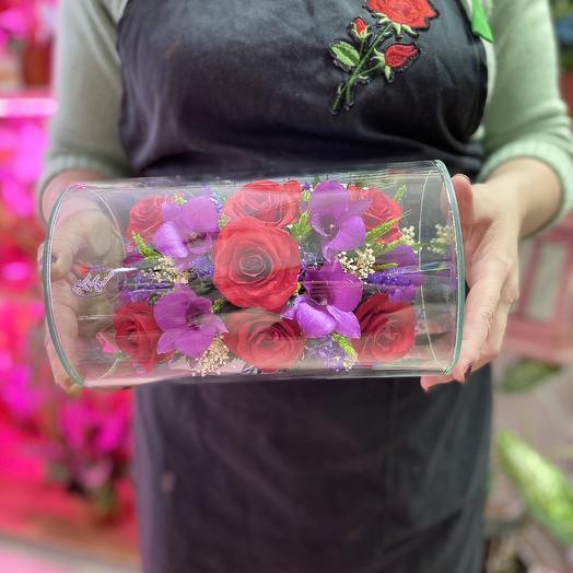 Орхидеи и розы в вакууме: букеты цветов на заказ Flowwow