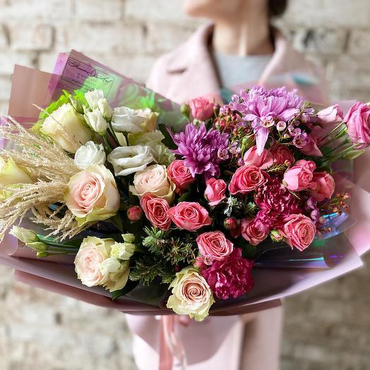 Градиент бело-розовый