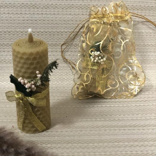 Свечи из вощины с сухоцветами натурального цвета