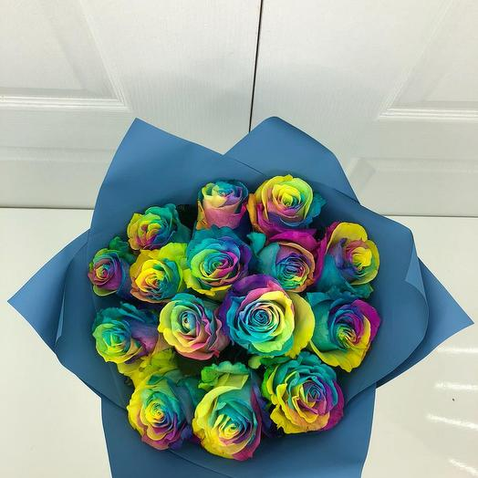 Радужная роза 15 шт