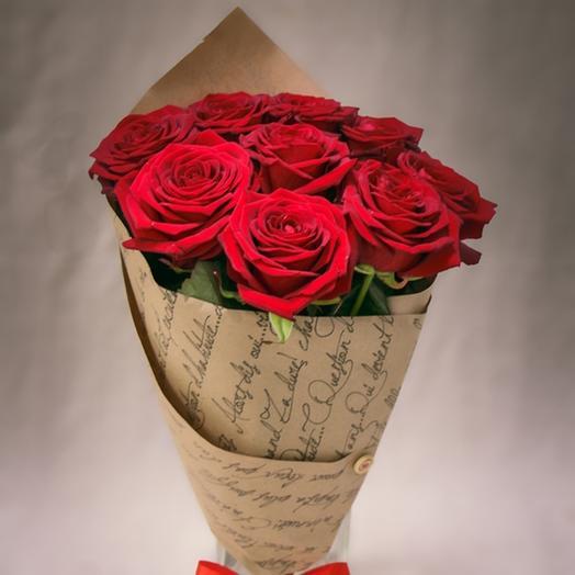 ✅ 9 роз в крафте Хит