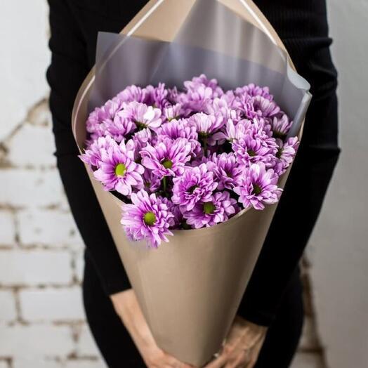 Букет из 3 хризантемы в стильной упаковке
