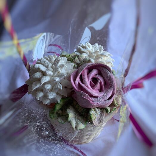 """Зефирная корзинка с розой и хризантемами """"XS"""""""