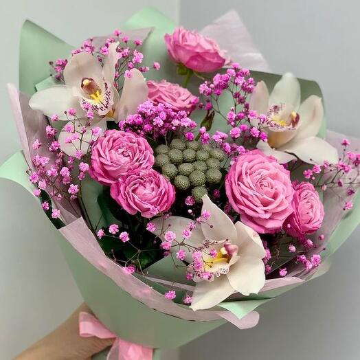 Bouquet-a compliment with orchids, peony roses, brunia and pink gypsophila