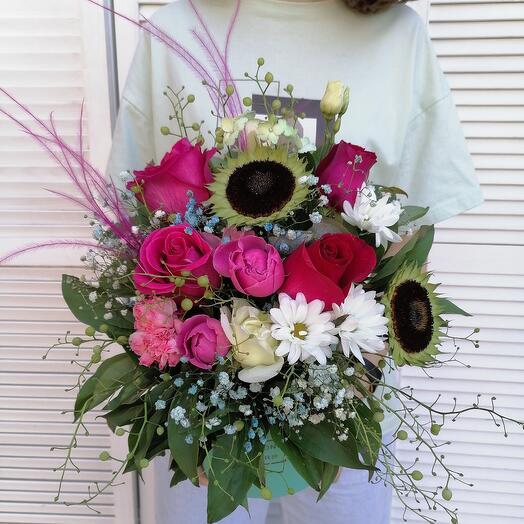 """Цветы в коробке """"поздравление"""""""