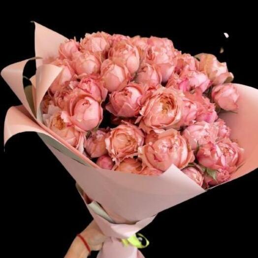 15 пионовидных роз Премиум