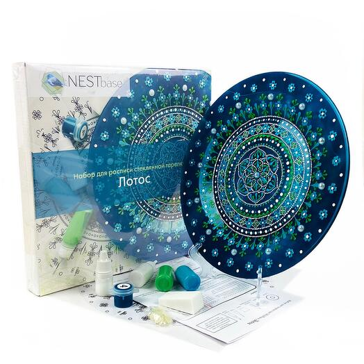 Набор для росписи стеклянной тарелки NESTbase «Лотос»