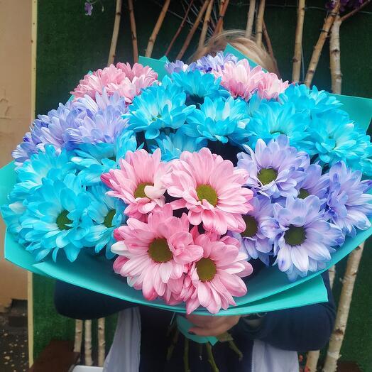 Букет из хризантем Краски радуги