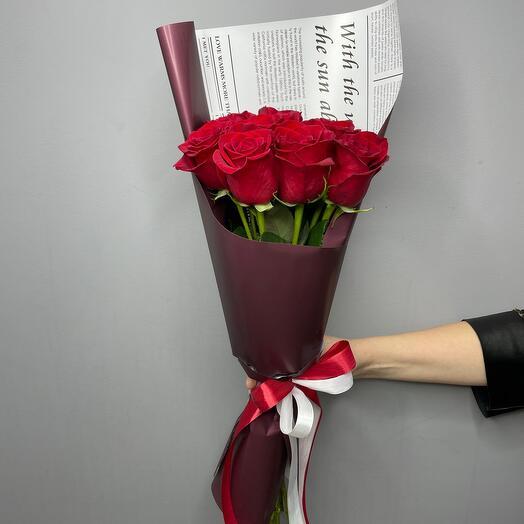 ✅9  роз с корейской упаковки