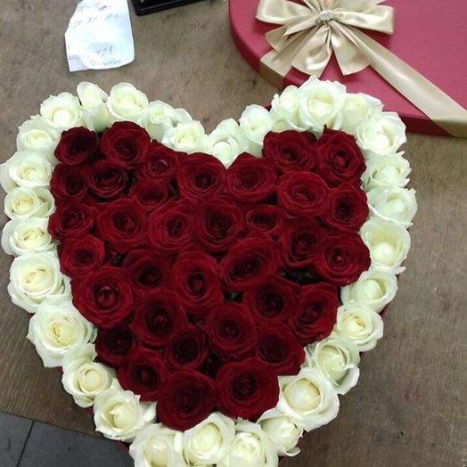 Сердце из Роз 33 шт: букеты цветов на заказ Flowwow