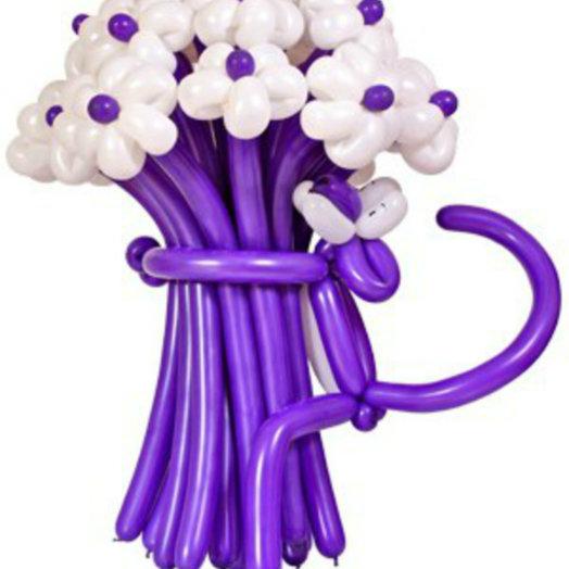 Яркий букет из 17 ромашек с пантерой : букеты цветов на заказ Flowwow
