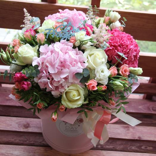 Box53 с гортензиями : букеты цветов на заказ Flowwow