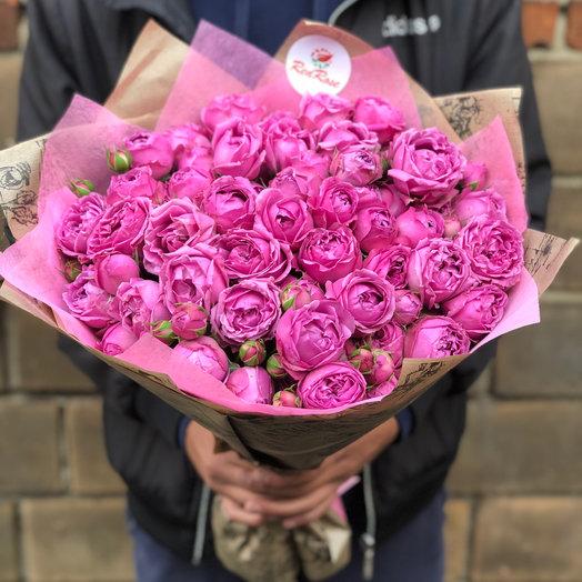 Букет из 15 веточек Пионовидных кустовых роз Мисти Баблз: букеты цветов на заказ Flowwow