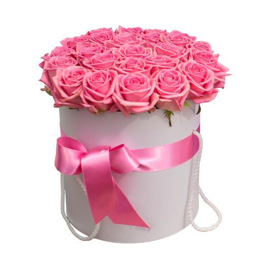 "Шляпная коробка из 25 роз ""Розовое облачко"": букеты цветов на заказ Flowwow"
