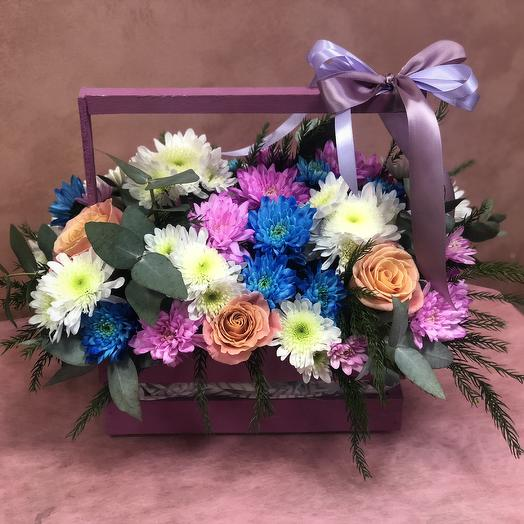 """Wooden box """"passion"""": flowers to order Flowwow"""