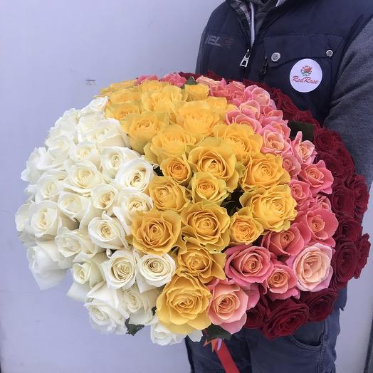 Букет из 101 розы микс 50см: букеты цветов на заказ Flowwow