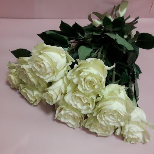 Для мамы 11 белых роз 80см под ленту: букеты цветов на заказ Flowwow