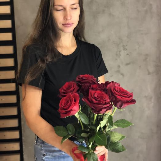 Букет из 7 роз Россия50 см: букеты цветов на заказ Flowwow