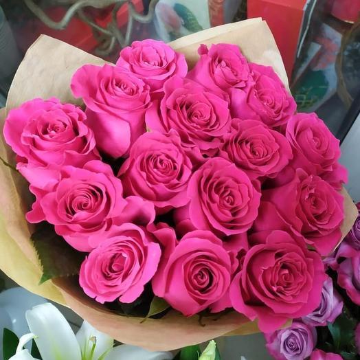 15 малиновый роз: букеты цветов на заказ Flowwow