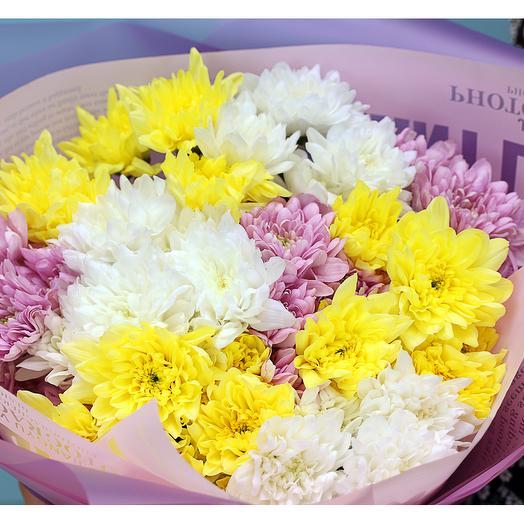 Букет из 9 кустовых хризантем микс в стильной упаковке