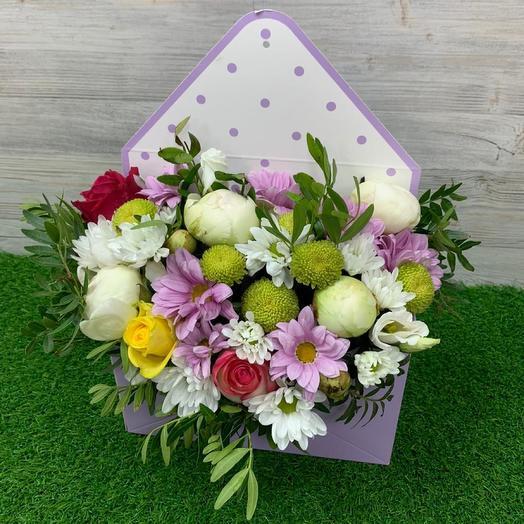 Авторский конверт с цветами: букеты цветов на заказ Flowwow
