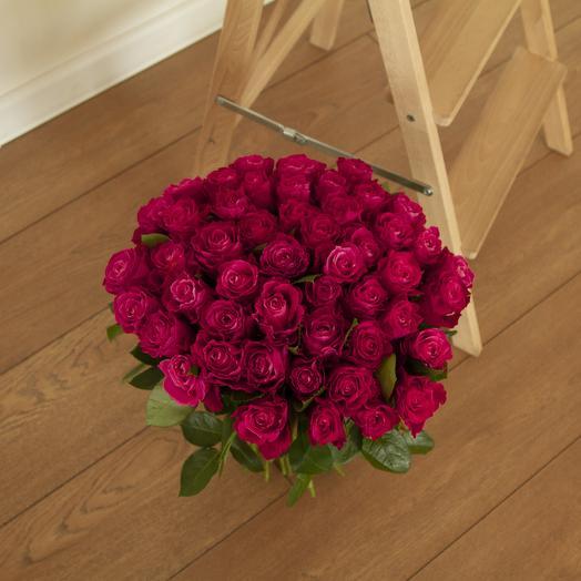 51 малиновая роза с крупным бутоном