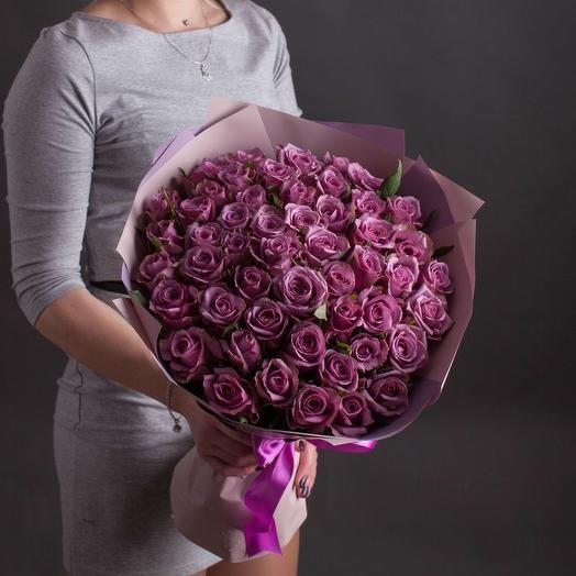 """Букет из 51  розы """"Лиловые мечты"""""""