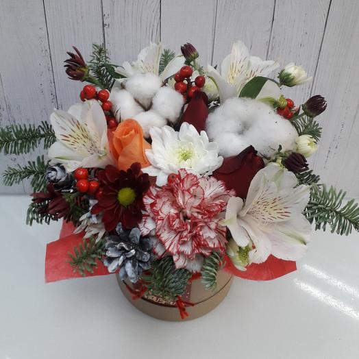 """Цветы в коробке """" Зимняя сказка"""""""